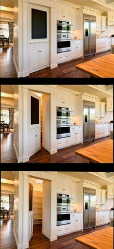 No chalkboard but this look. Farinelli Construction, Inc.  Hidden Pantry