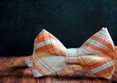 Men's SelfTie Freestyle PreTied Bow by #stellaEMHaberdashery, $32.00 orange peach light blue plaid #weddings #groom #groomsmen #bowtie