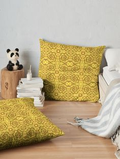 Helices, yellow & brown abstract pattern Throw Pillows by Clipsocallipso Worldwide shipping  Brown helices and dots on shining yellow background. Seamless abstract hand drawn arabesque pattern.   © Clipso-Callipso / Julia Khoroshikh  #yellow #brown #yellowandbrown #helices #arabesque #pattern #abstract #curves #patterndesign #clipsocallipso #printshop #textiledesign #apparel  #yellowaesthetic #redbubble  #pillows #cushion #homedecor #bedroom #bedroomideas #bedroomdecor #giftideas