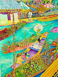 A personal favorite from my Etsy shop https://www.etsy.com/listing/181652313/the-floating-market-watercolor-paper