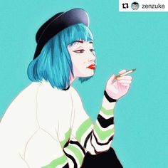 #wooolikes @zenzuke  Don't smoke kids it doesn't make you look cool. I'll have to start uploading animation again sometime but I'm on vacation and this is too much fun. #girl #girls #drawing #draw #digitalart #illustration #hipster #teal #blue #zenzukedoes #ilustracion #ilustración #artistsoninstagram #illustrationartists #characterdesign #diseñodepersonajes #wooomic