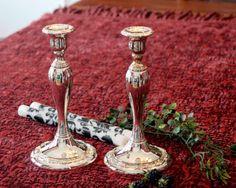 Oneida Georgian Scroll Candlesticks   Silver Plate by PearlsParlor