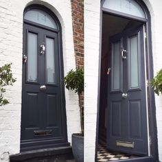 Solidor Anthracite Grey Victorian with Sandblasted Glazing - The Window Company - March 28 2019 at Grey Garage Doors, Grey Front Doors, Garage Door Design, Front Door Entrance, House Front Door, Painted Front Doors, Front Door Design, Front Door Colors, House Doors