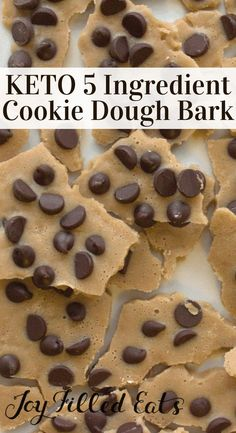 Chocolate Chip Cookie Dough Bark Low Carb Sugar Free THM Chocolate Chip Cookie Dough Bark Keto Low Carb SugarFree GrainFree GlutenFree THM S Less than 1 net carb per se. Low Carb Sweets, Low Carb Desserts, Low Carb Recipes, Dessert Recipes, Diet Recipes, Recipes Dinner, Breakfast Recipes, Diabetic Desserts, Breakfast Bars