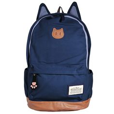 This backpack is made of high quality material canvas, the cat ear design is so cute, beige, black, blue and red colors, you can choose one you like. Description Material Canvas Weight About 530g Leng