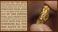 Southern Oregon gold miners will find 4 major rivers that are rich with gold. In Eastern Oregon, these 3 rivers have produced some huge gold nuggets. Gold Mining Equipment, Metal Detecting, Gold Deposit, Gem Hunt, Geode Rocks, Gold Hill, Gold Miners, Gold Prospecting, State Of Oregon