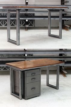 The Blacksmiths Desk - highly sought after industrial design. The simple minimalist loop leg works well in any environment. The desk shown has a raw polished steel base and natural oak slab top.