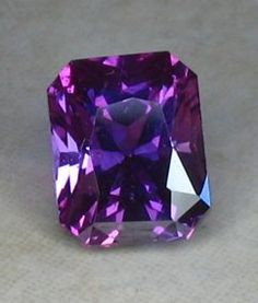 G - Purplish Emerald Cut Sapphire Minerals And Gemstones, Crystals Minerals, Rocks And Minerals, Stones And Crystals, Loose Gemstones, Gem Stones, Story Stones, Purple Sapphire, Mineral Stone