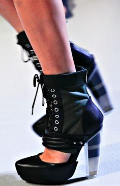Sand-filled plexiglass shoes, courtesy of Rodarte #shoes #platforms #booties