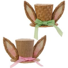 """RAZ Burlap Hat with Ears  2 Assorted styles Priced individually, choose style from band color Pink, Green Made of Burlap/Polyester Measures 5"""" X 6.5"""" X 6.5""""   Arriving soon!"""