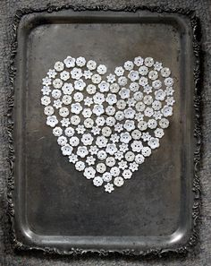 White button heart on tarnished silver try by Laura ~ so beautiful!