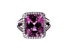 8.14ct Pink Spinel with White Diamond Halo Set in 18K White Gold by LKHermanNYC on Etsy https://www.etsy.com/listing/192838271/814ct-pink-spinel-with-white-diamond