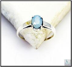 Blue Chalcedony Silver Ring Gemstone Jewelry 925 Sterling Silver Jewelry by Riyo Gems Handmade Jewellery http://www.riyogems.com