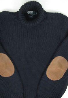 Vintage Polo Ralph Lauren Turtleneck Sweater Suede Elbow Patch Pads Mens Large #PoloRalphLauren #Turtleneck