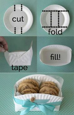 DIY cookie basket made from a paper plate - Clever home-made gift basket for baked goodies! -easy DIY cookie basket made from a paper plate - Clever home-made gift basket for baked goodies! Cookie Baskets, Gift Baskets, Food Baskets, May Day Baskets, Cheap Baskets, Easter Baskets, Dyi Baskets, Making Baskets, Paper Plates