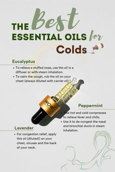 Essential oils can relieve cold and flu symptoms. From headaches to bodily aches and pains, fatigue, congestion, and stuffed airways, the most effective essential oils for the flu can also be used as natural germicidal remedies. Natural Cough Remedies, Cold Remedies, Natural Cures, Herbal Remedies, Health Remedies, Natural Health, Eating Organic, Best Essential Oils, Essential Oils
