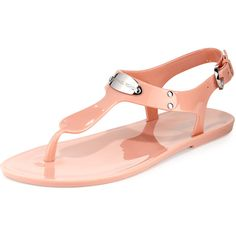 MICHAEL Michael Kors Logo-Plate Jelly Flat Thong Sandal ($52) ❤ liked on Polyvore featuring shoes, sandals, pale pink, michael michael kors shoes, flat sandals, jelly sandals, ankle tie flat sandals and jelly shoes