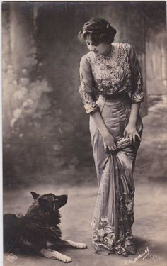 Edwardian lady and her pet dog French postcard