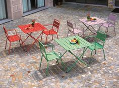 Monopoli, Folding Metal Tables and Chairs in Red, Sage Green, Ivory or Lilac