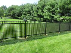 Black ornamental aluminum fence with 1 spacing to contain small dogs. This customer also added ball caps to all the posts as well to give the fence a more stately appearance. Patio Fence, Backyard Privacy, Backyard Patio, Backyard Landscaping, Simple Landscape Design, Small Garden Landscape, Aluminum Fence, Aquatic Plants, Perennials