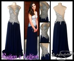 Silver and navy blue flowy matric dance dress with an illusion neckline and back.
