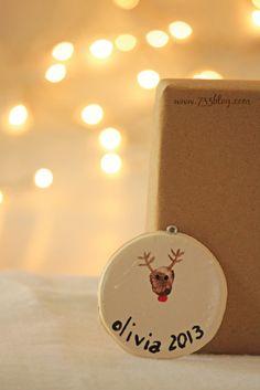 Thumbprint Reindeer Ornaments - Fun for Kids to make!