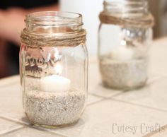 Nautical Mason Jar Candles                                                                                                                                                                                 More