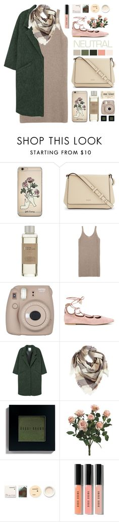 """""""Natural Neutrals"""" by cara-mia-mon-cher ❤ liked on Polyvore featuring DKNY, Casa Couture, Fujifilm, H&M, MANGO, BP., Bobbi Brown Cosmetics and Korres"""
