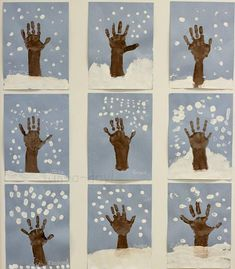 Winter Hand Print Tree with Snowy Fingerprints - Fun-A-Day! Winter hand print tree art to make with the kiddos! Talk about how trees change throughout the year as they use their hands and fingers to create art. Winter Art Projects, Winter Crafts For Kids, Art For Kids, Winter Crafts For Preschoolers, Winter Preschool Activities, Hand Art Kids, Winter Trees, Winter Fun, Winter Snow