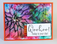 Dahlia Stencil Card - Club Scrap #ColorBurst #kenolivercrafts