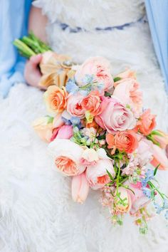 Dreamy Pastel Arm Sheaf Bouquet With Light Blush Pink English Garden Roses, Pink Roses, Peach & Coral Roses, Light Blue Delphinium~~