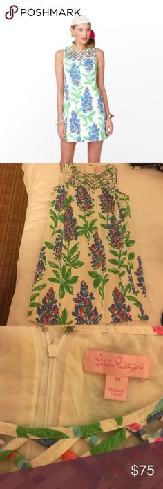 Lilly🌴 Ricci shift in Fresh Cut size 10 I'm a Texas girl so I love this Bluebonnet print shift from Lilly Pulitzer!! Beautiful lattice work In the front, in excellent used condition. Small stain on the inside slip, haven't tried to wash it out, not noticeable at all while wearing. Make me an offer! Lilly Pulitzer Dresses