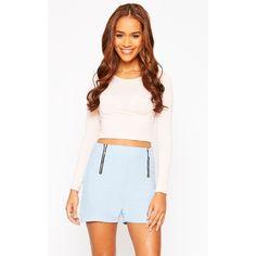 Mikkel Blue Zip Front Shorts ($19) ❤ liked on Polyvore featuring shorts, blue, high waisted shorts, rayon shorts, basic t shirt, highwaist shorts and high rise shorts