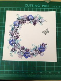 Card-io stamps, versacolour inks, white opal liquid pearls, diamond stickles. Birthday Cards For Women, Handmade Birthday Cards, Butterfly Cards, Flower Cards, Paper Cards, Diy Cards, Cardio Cards, Card Io, Homemade Cards