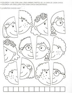 Use this for my younger students in the style of the puzzle piece group project.kinder, blank faces have students draw themselves and color or paint with watercolor? Preschool Learning, Kindergarten Worksheets, Preschool Activities, Teaching, Cognitive Activities, Folder Games, Kids Education, Toddler Activities, Kids And Parenting