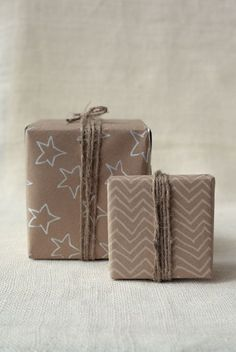 DIY kraft paper gift wrap seen on Wit & Whistle