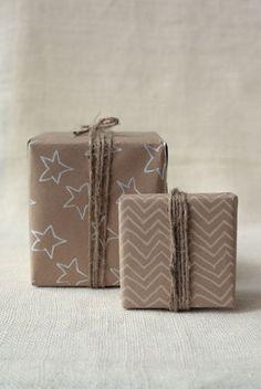 DIY kraft paper gift wrap