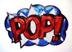 NEW-Sew-On-Iron-On-1-Large-Sequin-POP-Cartoon-Applique-Patch-Motif