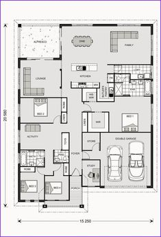 Casuarina 295 Our Designs New South Wales Builder GJ Gardner Homes New South New House Plans, Dream House Plans, Small House Plans, House Floor Plans, Home Design Floor Plans, Kitchen Floor Plans, Br House, Sims House, Floor Plan Layout