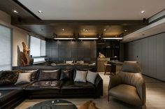 living room with leather sectional sofa