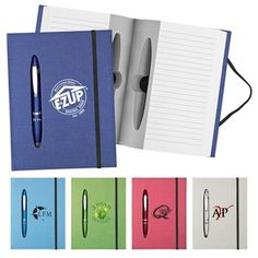 A #custom pen fits right inside this metallic #custom notebook. #epromos
