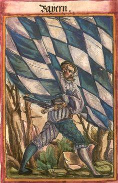 "Bayern [Bayern] (= Bavière) (f°14?) -- Koebel, Jacob, ""Wapen des heyligen römischen Reichs teutscher Nation"", Franckfurth am Main, 1545 [BSB Ms. Rar. 2155]"