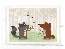 Tolles, hochwertiges Waschbär und Wolf  Poster