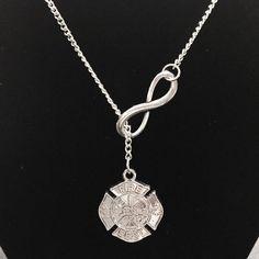 Maltese Cross Fireman Firefighter Wife Girlfriend Gift Necklace #Handmade #Charm