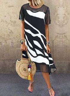 Color Block Tunic Round Neckline Midi Shift, Dress - Black / S Women's Fashion Dresses, Casual Dresses, Midi Dresses, Summer Dresses, Stylish Dresses, Vestidos Sexy, Robes Midi, Vestido Casual, Tunic Pattern