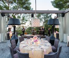 bridal shower, luxury, outdoor, party, pink and gray, wedding || Colin Cowie Weddings Ruffled linens glowed as the sun set