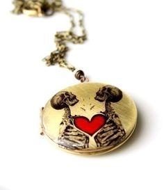 Skeleton Locket, Gothic Bride, Gothic Wedding Necklace, Red and Black Necklace, Vintage Locket, Heart Locket, Resin Locket