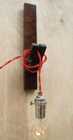 Modern Wood Wall Sconce Light /  Bare Bulb by HbernationRstoration, $120.00