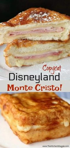 How to make a delicious Copycat Disneyland Monte Cristo Sandwich! This is a must have recipe for the Disney fan, the best Monte Cristo sandwich ever! Gourmet Sandwiches, Healthy Sandwich Recipes, Healthy Sandwiches, Panini Sandwiches, Sandwiches For Dinner, Panini Recipes, Vegetarian Sandwiches, Sandwich Ingredients, Delicious Sandwiches