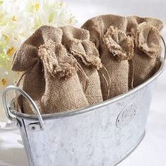 Rustic Chic Burlap Wedding Favor Bag (Set of 12)
